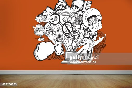 Drawn illustration on orange wall : Illustrazione stock