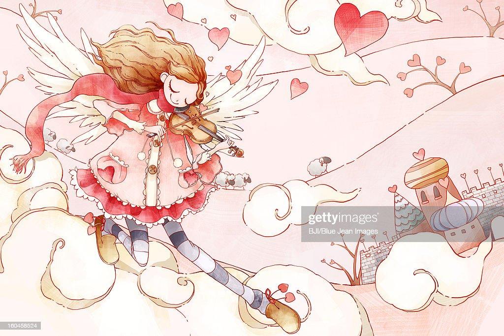 Dreamy girl playing violin in sky : Stock Illustration