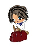 A dressed up girl with a bag, Illustration, Cartoon, Portrait