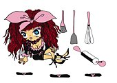 A dressed up girl with cooking tools, Illustration, Cartoon, Portrait