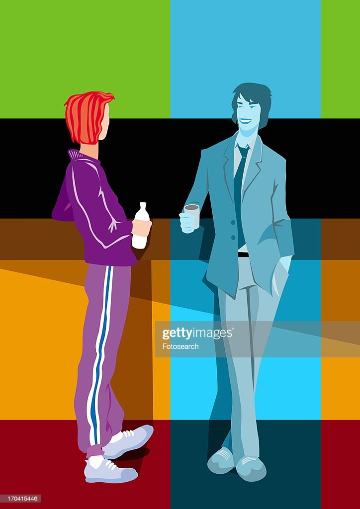 Dressed up man talking to casual woman : Stock Illustration