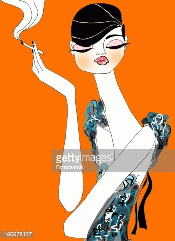 Dressed up woman with cigarette in hand : Stock Illustration