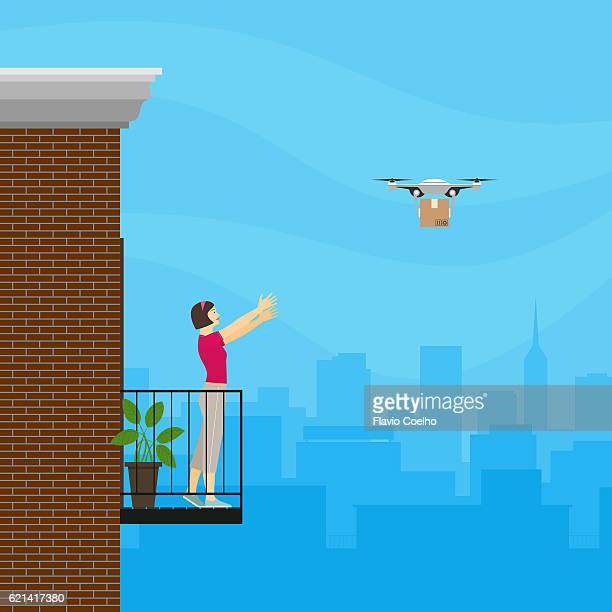 Drone delivering package to a young woman on her apartment balcony digital illustration