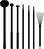 """""""Sticks, beaters and brush for drums. Silhouettes. Vector file - will scale to any size without loss of quality."""""""