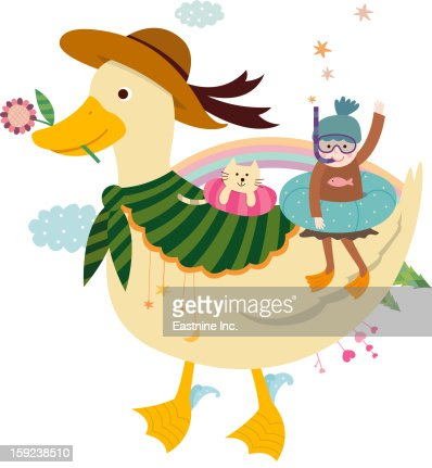 Duck and a girl : Stock Illustration