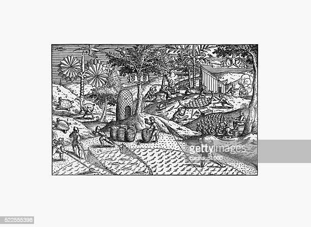 Dutch Navigators Living on the Mauritius Island Illustration
