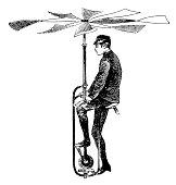 """""""Vintage engraving of an early flying apparatus (isolated on white). Published in Systematischer Bilder-Atlas zum Conversations-Lexikon, Ikonographische Encyklopaedie der Wissenschaften und Kuenste (B"""