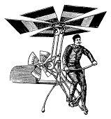 """""""19th-century illustration of an early flying machine (isolated on white). Published in Systematischer Bilder-Atlas zum Conversations-Lexikon, Ikonographische Encyklopaedie der Wissenschaften und Kuen"""