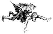 """""""Antique illustration of an early flying machine (isolated on white). Published in Systematischer Bilder-Atlas zum Conversations-Lexikon, Ikonographische Encyklopaedie der Wissenschaften und Kuenste ("""