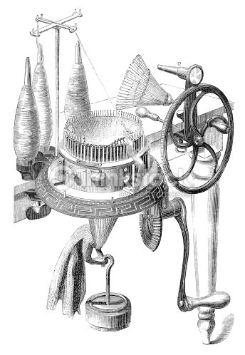 Early Invention Knitting Machine Stock Illustration
