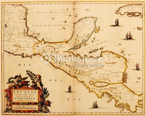 早期 map of central america 1635 ストックイラストレーション thinkstock
