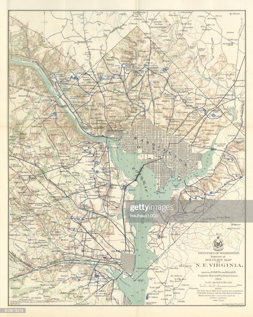 Early Map Of The City And Capitol Of Washington Dc United States - Us map with dc