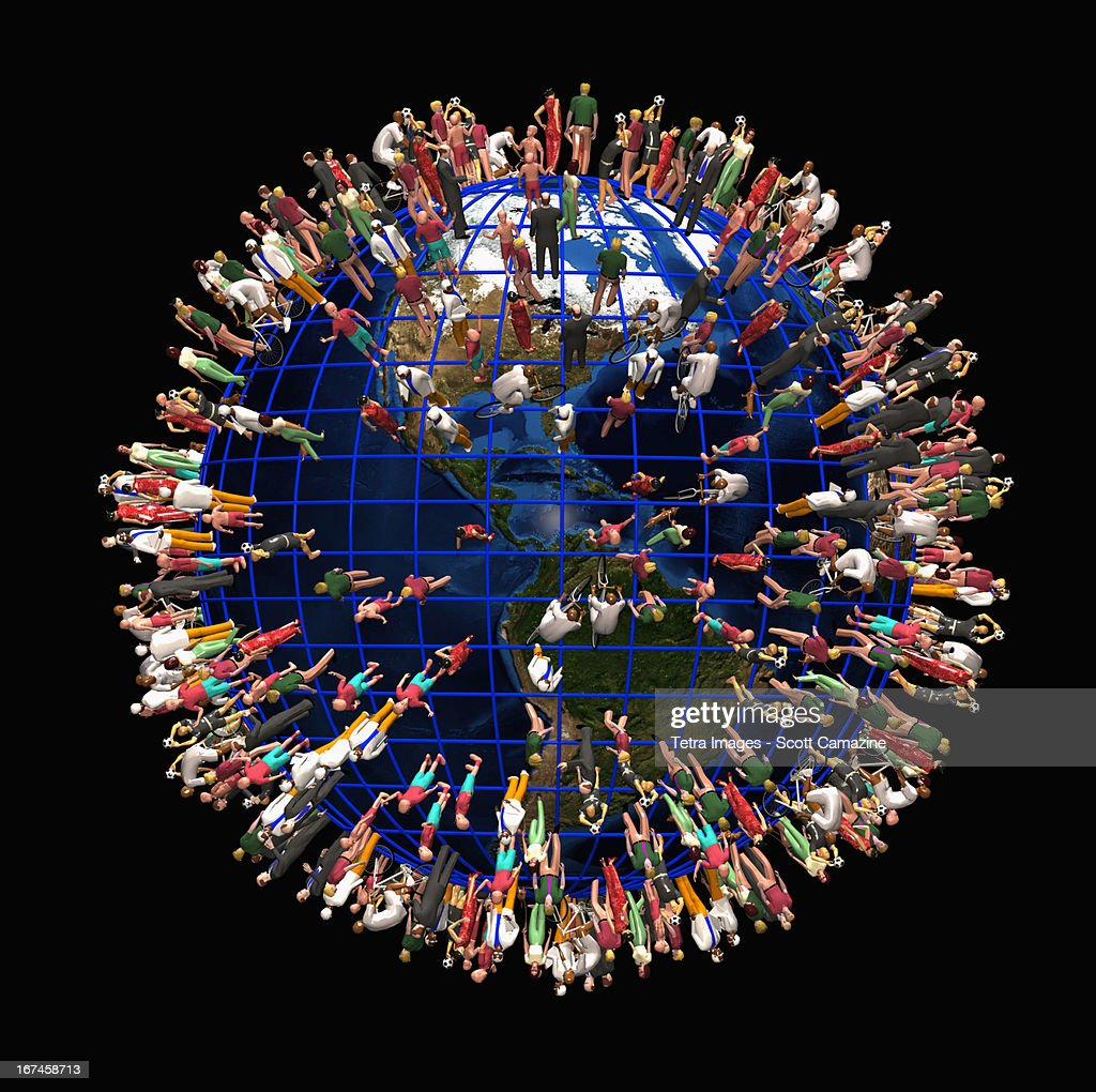 Earth crowded with people : Stock Illustration