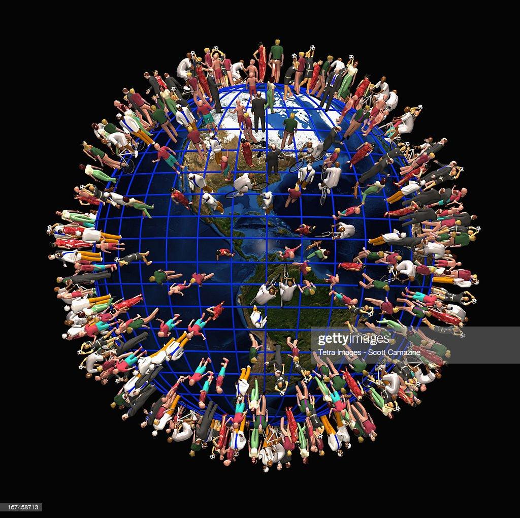 Earth crowded with people : Ilustração de stock