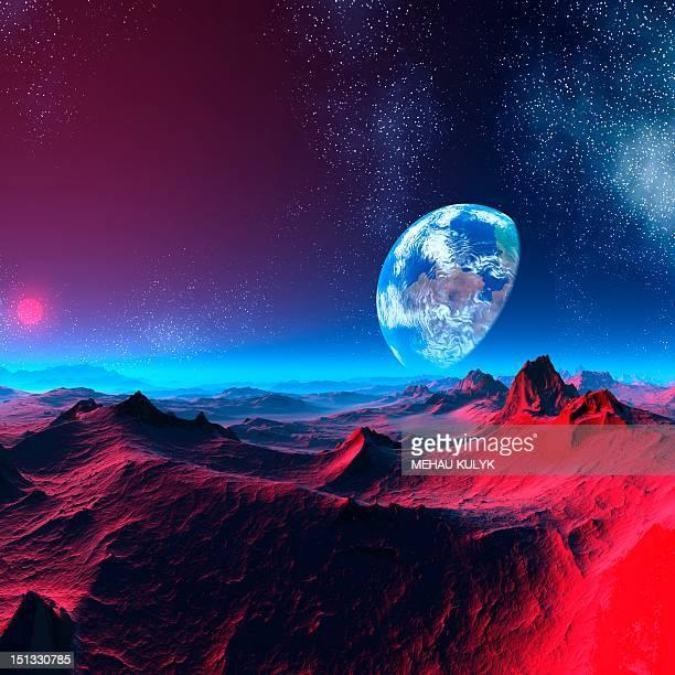 Earth-like alien planet, artwork