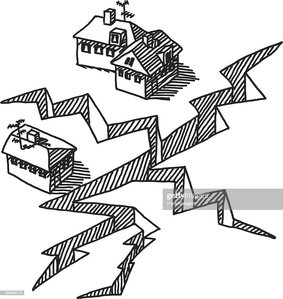 Earthquake Crack Buildings Drawing Vector Art | Getty Images