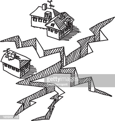 Earthquake Crack Buildings Drawing Vector Art Getty Images