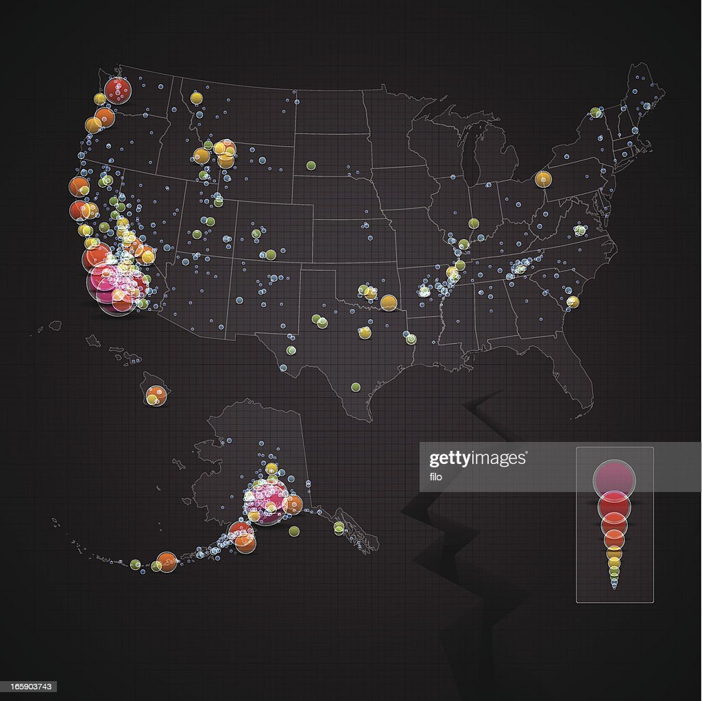 USA Earthquake Map : Vector Art