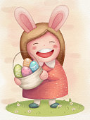 Paschal greeting cards. Children's illustration. Illustration.