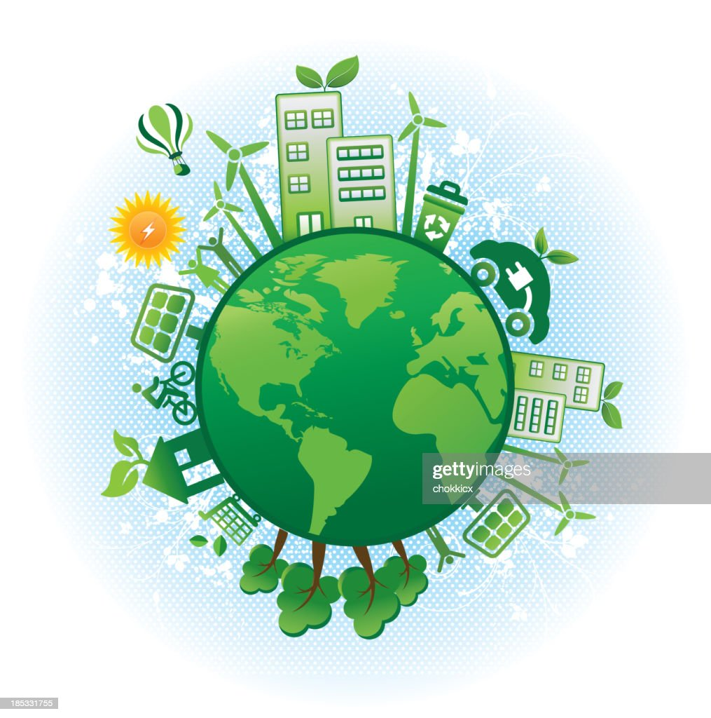 eco green icons with world map : Stock Photo