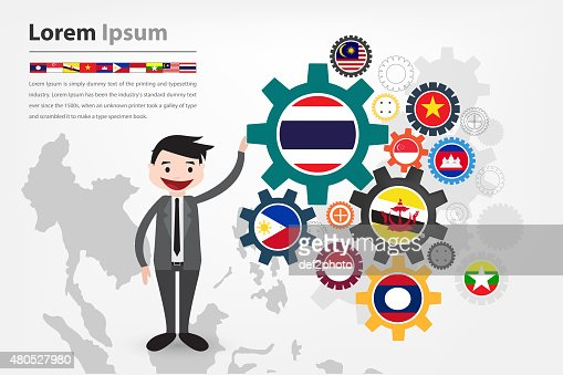 economic gear driving in asean country (aec) : Stock Illustration