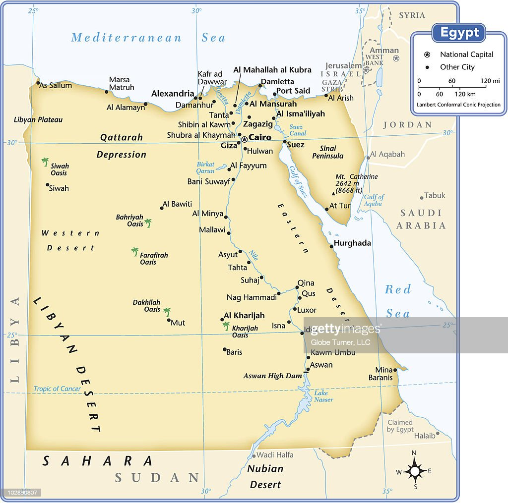 Egypt Country Map Vector Art Getty Images - Map of egypt country