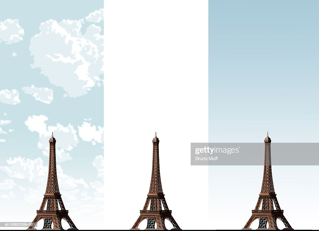 Eiffel Tower on three different sky backgrounds : Stock Illustration