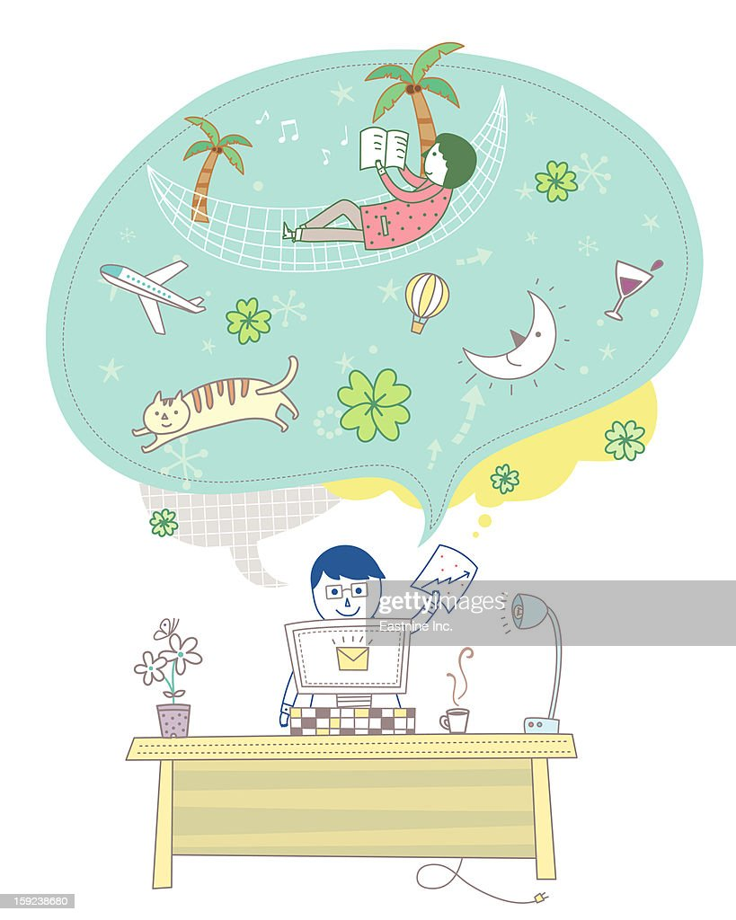 Electronic devices and man : Stock Illustration