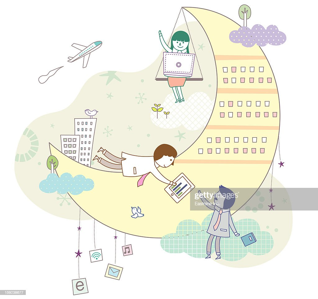 Electronic devices and people : Stock Illustration