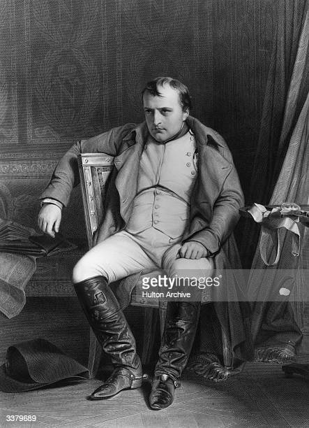 Emperor Napoleon Bonaparte in military uniform at Fontainebleau Original Artwork Engraving from a painting by Delaroche
