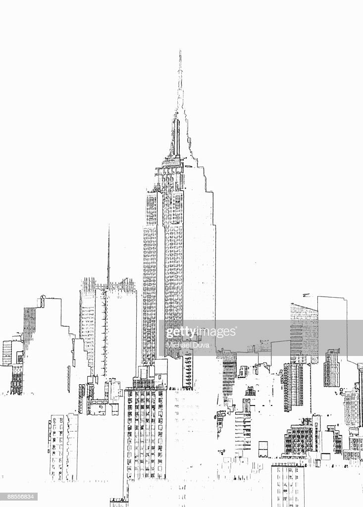 empire state building  photographic line drawing : Stock Illustration