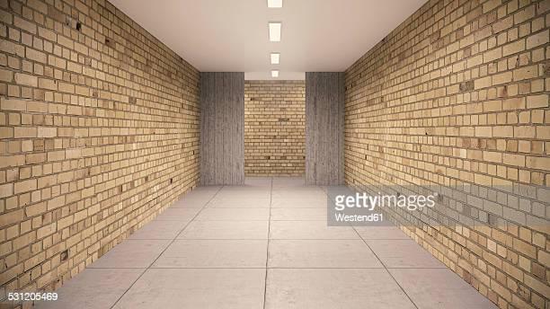 Empty cellar with brick wallsand concrete floor in a school building, 3D Rendering
