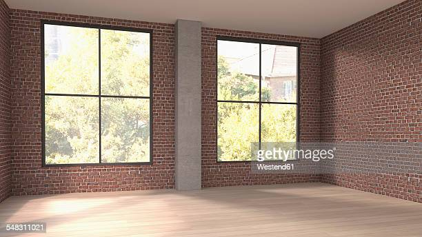 Empty room with two windows, 3D Rendering