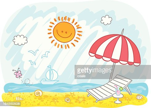 empty summer holiday beach cartoon illustration vector art - Holiday Cartoon Images