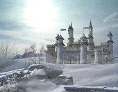 3D rendering of an enchanted fairy tale princess castle in winter.
