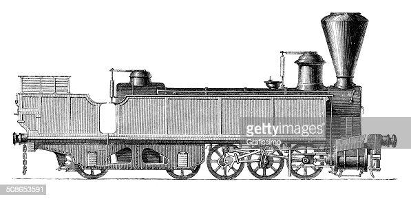 Engerth locomotive of Semmering Railway Austria : Stock Illustration