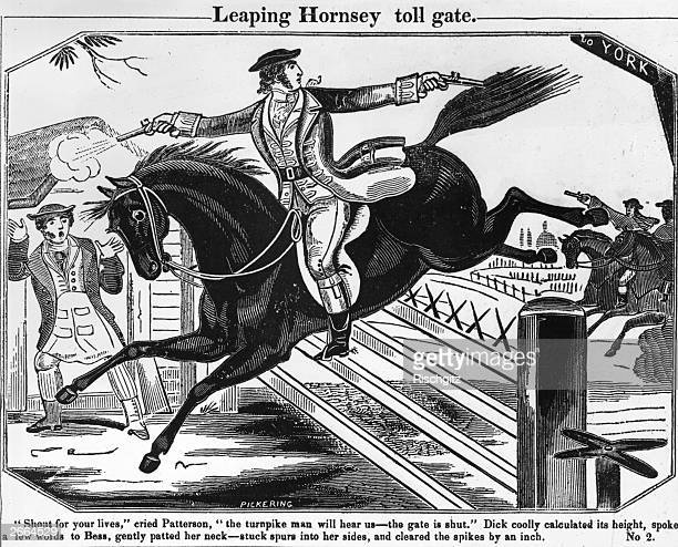 English highwayman Dick Turpin clears the Hornsey tollgate on his horse while shooting at his pursuers circa 1738