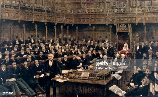 English prime minister William Ewart Gladstone delivering his last speech in the House of Commons London