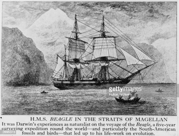 English survey ship HMS Beagle in the Straits of Magellan during its circumnavigation of the globe with Captain Robert Fitzroy and scientist Charles...