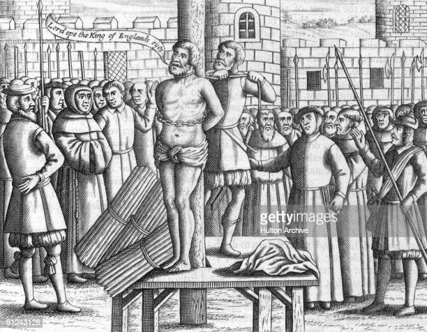1536 English translator of the Bible William Tyndale being tied to a stake before being strangled and burnt to death