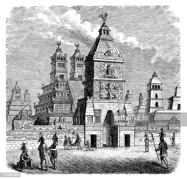 Engraving aztec city Tenochtitlan entrance Teocalli from 1870