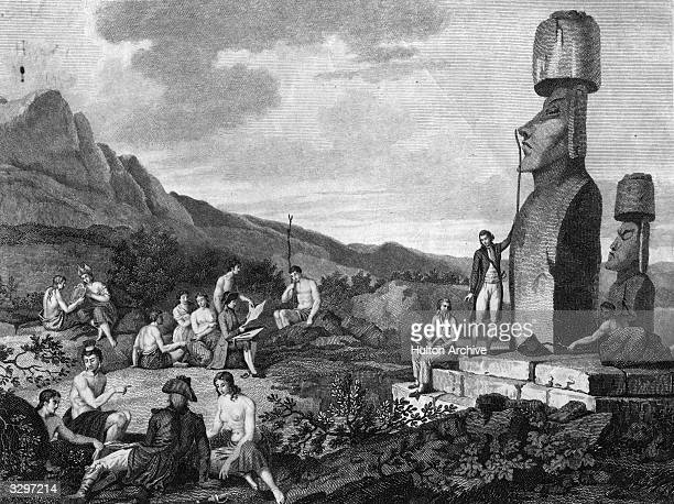 European explorers measure and record the statues on the Polynesian island of Easter Island