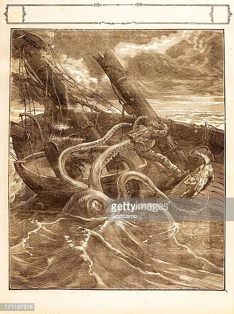 Engraving Giant octopus catching a sailor 1881