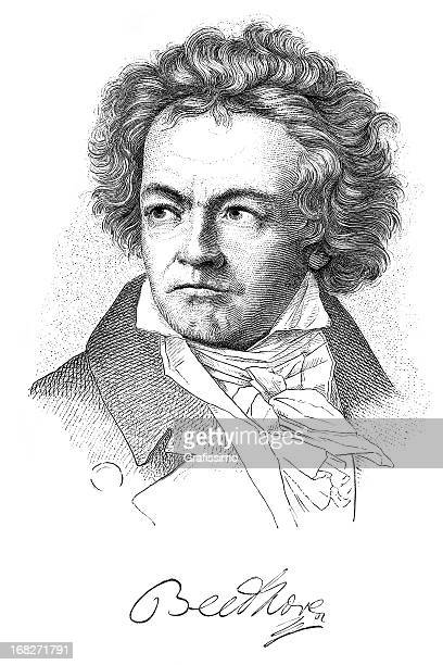 Engraving of composer Ludwig van Beethoven from 1882