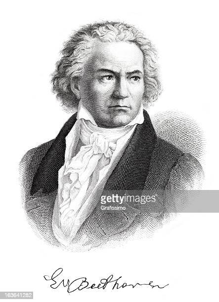 Engraving of composer Ludwig van Beethoven with signature from 1882