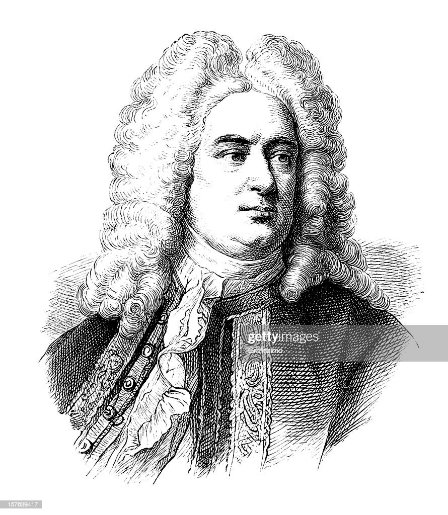 Engraving of german composer George Frideric Handel from 1870 : Stock Illustration