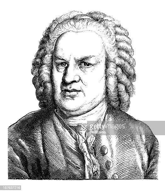 Engraving of german composer Johann Sebastian Bach from 1870