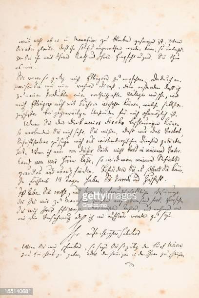 Engraving of handwritten letter from Friedrich Schiller 1782
