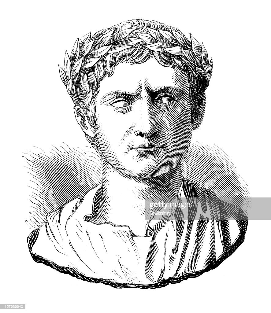 Engraving of Julius Caesar or Augustus Casus Octavianus : Stock Illustration