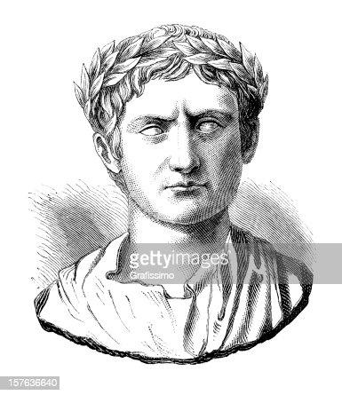 Engraving of Julius Caesar or Augustus Casus Octavianus : Stock Illustration